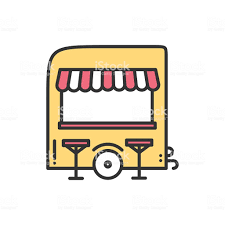 Street Food Retail Line Icon Food Trolley Truck Trade Cart Stock ...