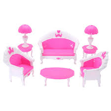 Meigar 6Pcs Barbie Dollhouse Furniture Living Room Parlour Sofa