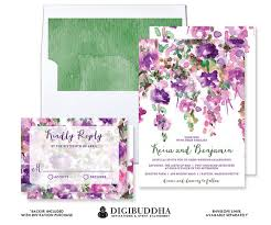 PURPLE FLOWERS WEDDING Invitation RSvP Whimsical Floral Rustic
