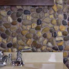 Mosaic Tile Chantilly Virginia by Somertile 12x12 In Riverbed Multi Natural Stone Mosaic Tile Pack