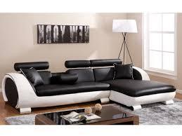 canapé angle droit noir structure blanche commandeur