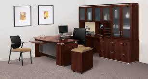 Realspace Broadstreet Contoured U Shaped Desk Cherry by U Shaped Desk With Hutch Full Image For Executive Desk With Hutch