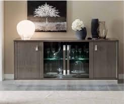 Camel Group Platinum Silver Birch Finish Slim 4 Door Buffet With Glass