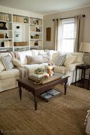 cottage style living room with pottery barn sectional and vintage
