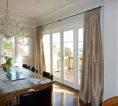 Window Treatments For Living Room Using Satin Drapery Fabric Mounted On Metal Curtain Rod Nearby Glass