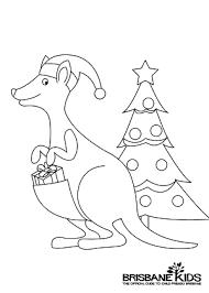Christmas Kangaroo Colouring In