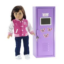 18 inch Doll Furniture Purple School Locker with Accessories