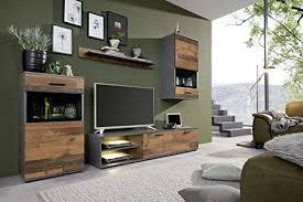trendteam smart living wohnzimmer 4 teilige set kombination mango 246 x 182 x 37 cm front wood korpus und absetzung matera mit viel stauraum