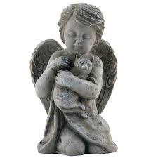 cat garden statue cherub with cat garden figure the catholic company
