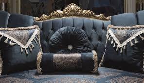 casa padrino luxus barock sofa blau gold 220 x 90 x h 110 cm prunkvolles wohnzimmer sofa mit glitzersteinen und dekorativen kissen