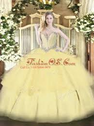 Custom Design Gold Lace Up Sweetheart Beading And Ruffled Layers Quinceanera Dresses Tulle Sleeveless