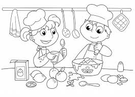 Bakery Kids Baking Cake In Cooking Show Coloring Pages