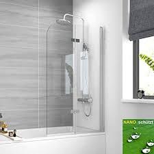 meykoers duschabtrennung 100x140cm faltwand für badewanne duschwand badewannenaufsatz mit 6mm nano easy clean glas