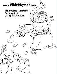 This Picture Of Zacchaeus Sharing Money From The BibleRhymes Bible Story Coloring Book Is In Black And White For People To Print Color
