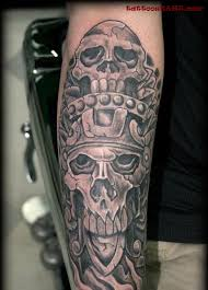 Grey Skull Mexican Tattoo On Right Sleeve