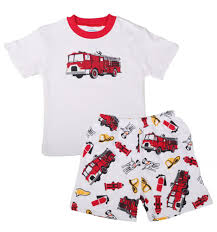 Sara's Prints Natural Short Sleeve Santa's Firetruck Pajamas Shorts ...