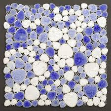 porcelain pebbles fambe mosaic blue glazed pebble mosaic tile
