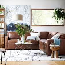 henry 3 piece sectional leather west elm living room
