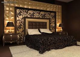 Glam Headboard Black And Gold Bedroom Interiors