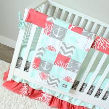 ocean baby crib bedding coral mint gray baby bedding set
