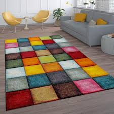 kurzflor wohnzimmer teppich bunt karo design vierecke mehrfarbig farbenfroh grösse 200x290 cm