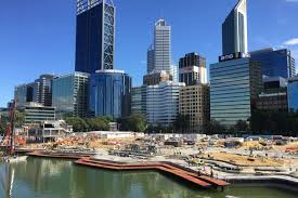 A View Of The Elizabeth Quay Construction Site With Perth Skyline In Background
