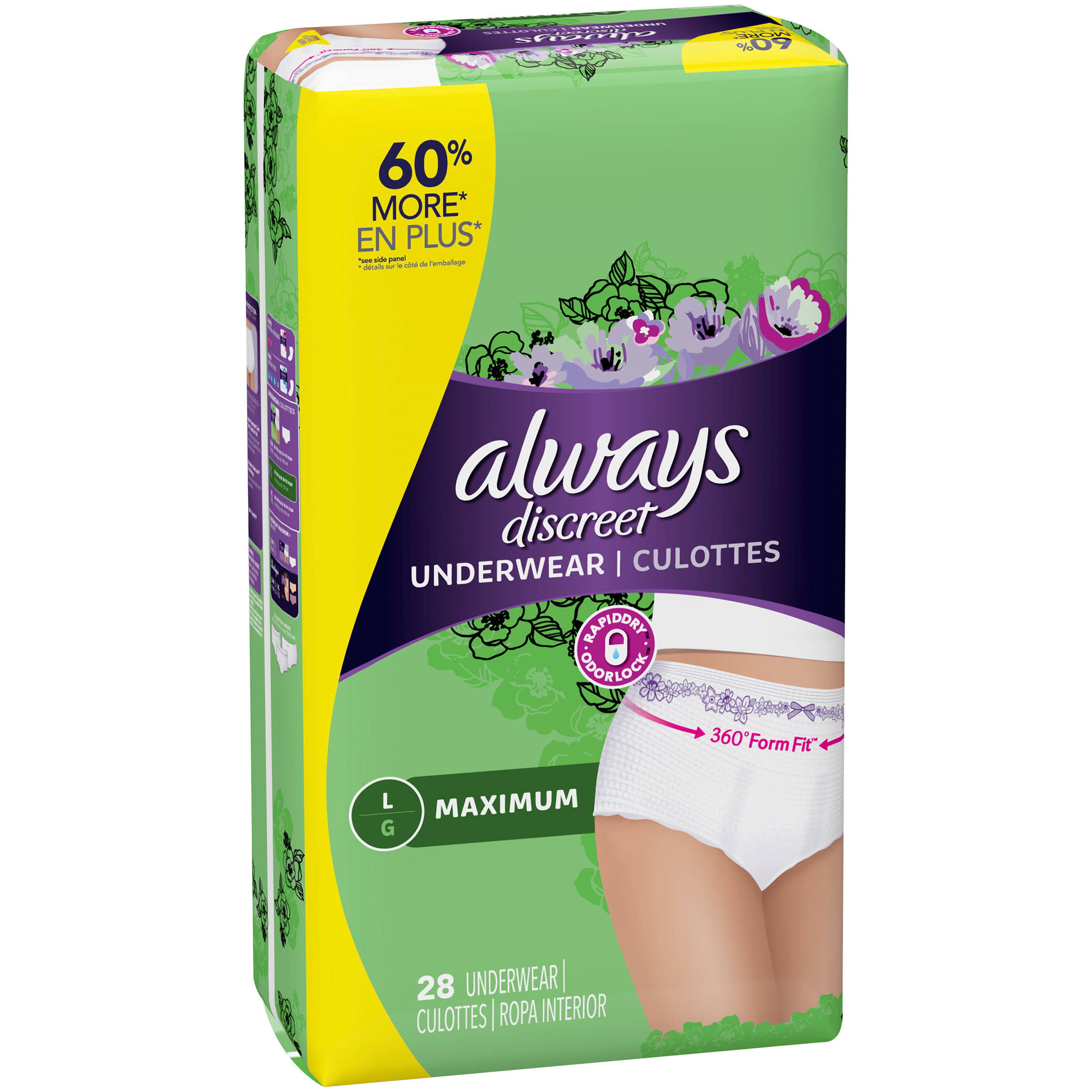 Always Discreet Maximum Underwear - L, 28pcs
