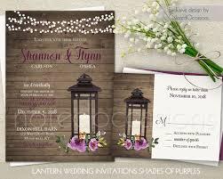 Purple Wedding Invitations Rustic Lantern Invitation Printable Set RSVP Country Wine Watercolor Florals Digital Template Kit