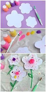 Splatter Flower Craft For Kids Using A Toothbrush Fun Spring Or Summer Time
