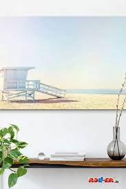 wandbild stiller strand beige blau 118x70 cm