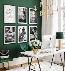 schwarz weiß büro bilderwand vintage poster home office deko