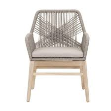 Benjara Aluminum Weave Design Wooden Outdoor Dining Arm Chair With Loose  Seat Gray Cushion (Set Of 2)