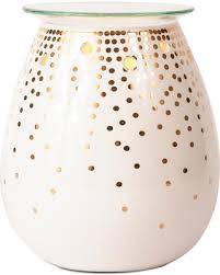 holiday savings on decorative candle warmer gold dot ador white