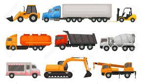 100 Types Of Construction Trucks Flat Vector Set Various Vehicles Semi Dumper
