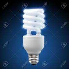 3d render of a glowing blue energy saving light bulb stock photo
