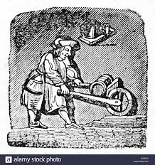 Old illustration of a wheelbarrow carrier After drawing of destroyed misericord in Corbeil Saint Spire cathedral Published on Magasin Pittoresque Paris