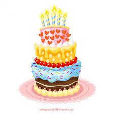 Colorful birthday cake illustration Free Vector