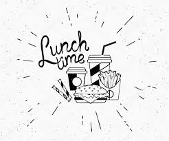Lunch Time Vintage Label Of Burger With Coffee And French Fries In Hipster Style Sunburst Hand Drawn Retro Lettering On White Background For