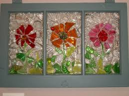 Items Similar To Recycled Glass Art On Window Flower Trio Etsy