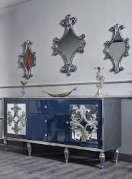 casa padrino luxus barock wohnzimmer set blau silber kommode und 3 spiegel barock wohnzimmermöbel