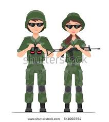 Male Female Soldiers In A Sun Glasses Camouflage Isolated Vector Illustration