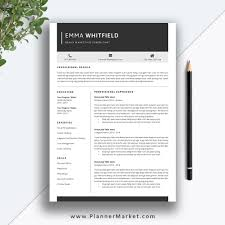 Professional Resume Template, 5 Page CV Template, Creative Resume Design,  Cover Letter, MS Word, Instant Download, The Emma Resume Free Simple Professional Resume Cv Design Template For Modern Word Editable Job 2019 20 College Students Interns Fresh Graduates Professionals Clean R17 Sophia Keys For Pages Minimalist Design Matching Cover Letter References Writing Create Professional Attractive Resume Or Cv By Application 1920 13 Page And Creative Fully Ms