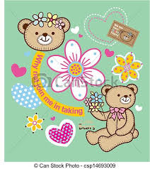 Bear Flowers Vector Can Design T Shirts For Kids Clipart