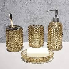 satu brown badezimmerzubehör set gold 4 tlg seifenspender set zahnputzbecher und seifenablage zahnbürstenhalter 4 teilig für badezimmer und