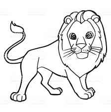 Cartoon Cute Lion Coloring Page Vector Illustration Royalty Free Stock Art