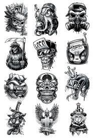 Black And Grey Temporary Tattoo Set