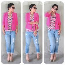 pretty in pink blazer jeans leopard shoes pink blazers