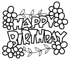 Birthday Coloring Pages Free Printable Cards Black Bold Words Design