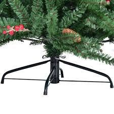 Shop Costway 8FT Artificial PVC Christmas Tree 2528 Tips Green W Pine Cones Red Berries