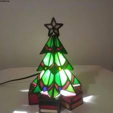 2 Light Tree Tiffany Style Table Lamp Stained Glass Art Craftsman Christmas